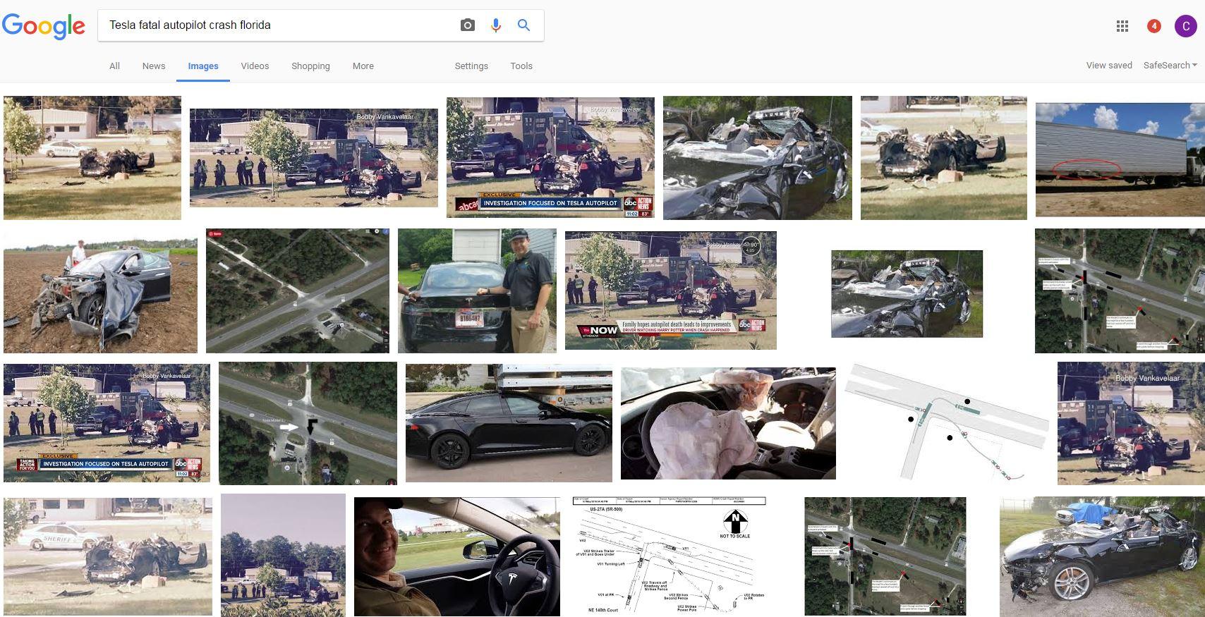 Cabrall - Fatal Tesla Autopilot Google image search